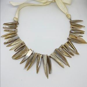 Raw Pointed Agate Gem Tie Collar Necklace